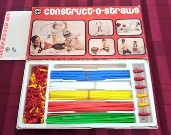CONSTRUCT-O-STRAWS Building Construction VINTAGE Game By Parker Bros
