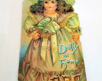 Vintage DOLLY AT HOME A B C Booklet Reproduction Children's Learning Merrimack