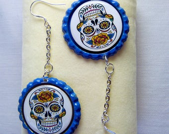 SKULL earrings made from bottle tops and 925 sterling silver shepherd hooks