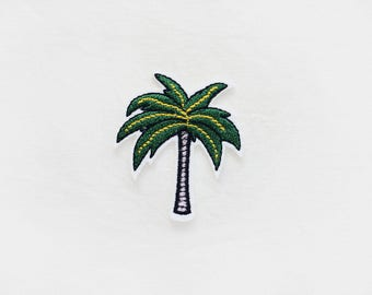 1x PALM TREE PATCH Iron On Embroidered Applique tropical sunrise green summer vacation farniente beach diy custom craft  project