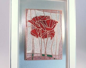 """""""Poppies"""" painting, enamels on copper champlevés, enamel on copper """"CHAMPLEVÉ""""."""