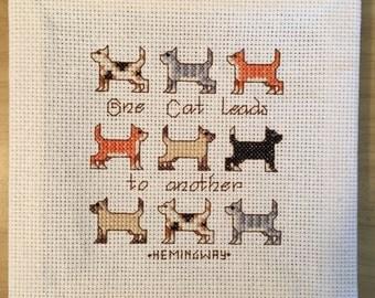 Hemingway Cat Quote Cross Stitch on Cloth Canvas