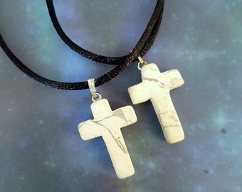 White Howlite Cross Necklace