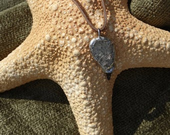 Beach Stone and Shark Tooth Soldered Charm Necklace