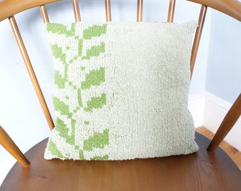 Hand Knitted Cushion Green Leaf Pattern Small