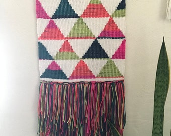Handmade woven wall hanging multi colored
