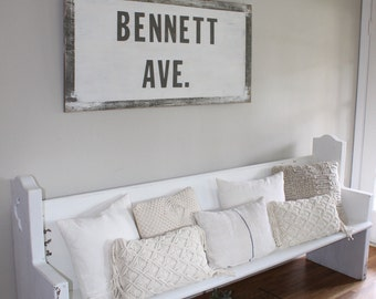 Rustic Bennett Ave Wood Sign