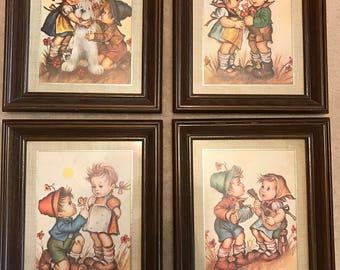 4 Wood Framed Matted Hummel Prints
