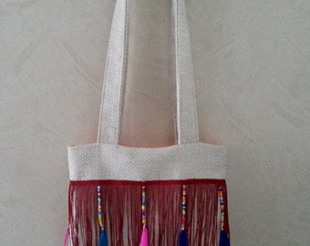"""Bag Tote """"Beads and feathers"""" 32 x 28 cm"""