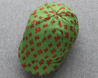 Cactus cycling cap with red lining
