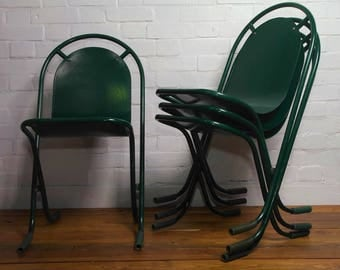 4 available Sebel Stak a Bye industrial metal chairs vintage restaurant cafe interior design stacking retro