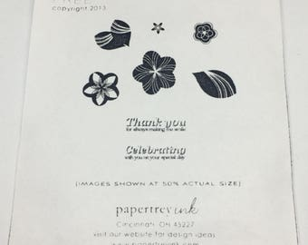 Thank You and Flowers Stamp Set - Stamp Set - Scrapbooking - Card Making Supplies - Papertrey Stamp