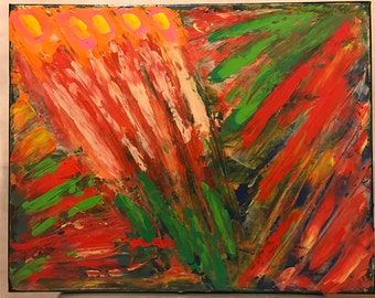 Abstract Expressionistic 16x20 in. Acrylic Painting: Tulip Explosion
