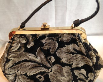 Black and beige needlepoint handbag