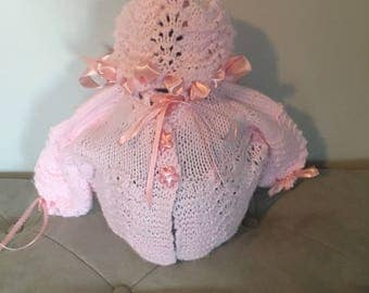 Hand Made Pink Baby Girl Sweater and Hat Set