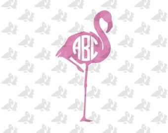 Flamingo Circle Monogram Single Color Decal Sticker