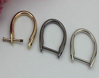 6Pcs inner 22mm 45 x 40 mm gold balck metal D ring Golden Brushed Silvery Light golden thick Screws D rings O rings buckle