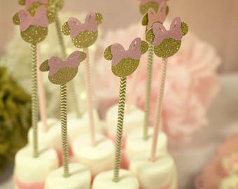 Pink and Gold Glitter Minnie Mouse Straws, Minnie Mouse Straws