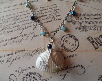 Sea shell necklace with crystals, shell jewelry