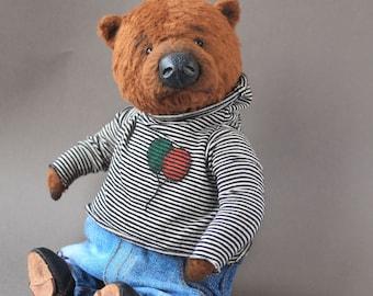 Teddy Bear Tim Handmade Teddy Bear Stuffed Animal Toy OOAK teddy bear Artist toy by Ekaterina Zhiteneva