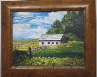 Original landscape, acrylic painting, countryside, Maine, white barn,  rural scene, old shed, outbuilding, yellow flowers in field