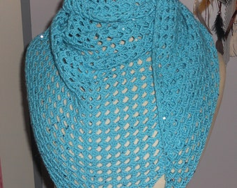 Turquoise shawl and glitter cotton handmade crochet