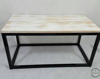 White wash coffee table / industrial / home decor / wood / steel / gifts for the home
