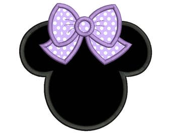 Minnie Mouse Ears Applique Machine Embroidery Design, Mouse Head with Cute Bow Embroidery, 4x4, 5x7, 6x10, INSTANT DOWNLOAD, No: FA535-1