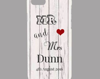 Personalised Wedding, His, Hers, Mrs Mrs, Married, Red Heart -  Protective Glossy Phone Cover Case to fit iPhone iP Samsung Galaxy GS