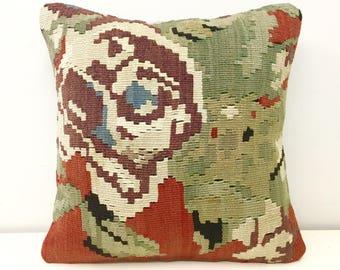 Turkish Kilim Pillow Cover, 16X16 Turkish Rug Pillow, Boho Kilim Pillows, Outdoor Pillow, Turkish Vintage Wool Kilim Cushion Case Covers