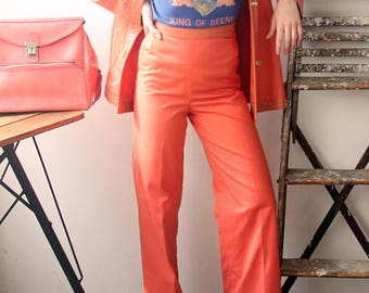 Power Peach / Vintage 1960's Bonnie Cashin Original Leather Trimmed Coral Two Piece Suit with Brass Turnkey Closures / Women's Small