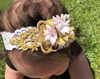 Lace and Shabby Chic Flower Head band for bright day H-0021