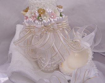 Candle from baptism, Candle for baptism, Shell for christening, Candle and shell