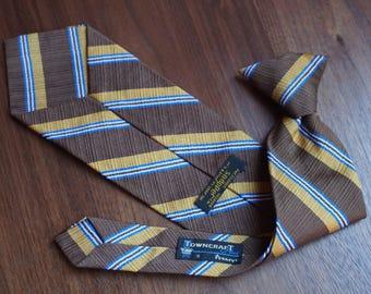 "Brown, Gold, Blue Diagonal Stripe Vintage 1970's Clip-On Tie ""Towncraft Plus for JC Penneys"""