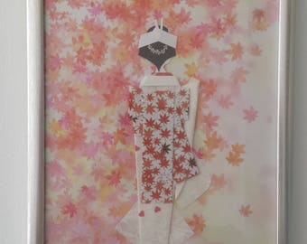 origami paper doll picture with frame, Japanese bride