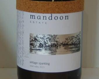 Wine bottle soy wax candle.  AUSTRALIAN WINE BOTTLE
