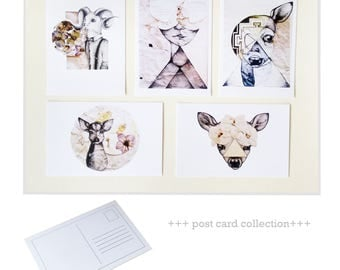 Collection of 5 post cards with art prints