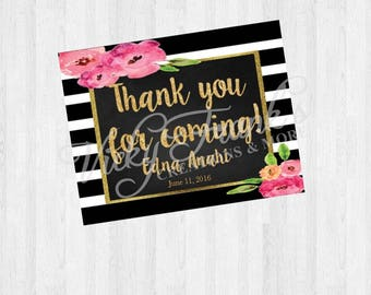 Kate Spade Inspired Thank You Card, Thank You card, Kate Spade Favor, Printable Cards