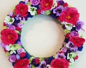 Wreath, Floral Wreath, Flower Wreath, Beautiful Spring Wreath, Front Door Wreath Fuchsia and Purple Bright 16in Spring Wreath