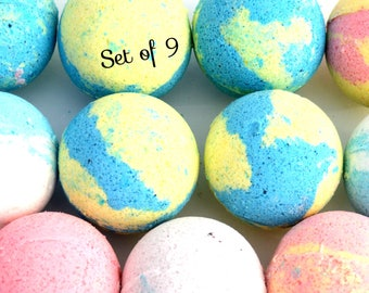 Spouse gift etsy set of 9 large bath bombs bath bomb box spa gift gift for negle Images