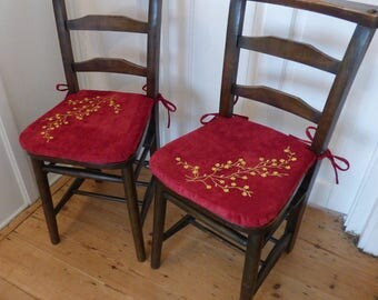 2 Restored church chairs with beautiful one off cushion pads with ties