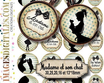 MADAME ET son chat ID 1 Digital Collage Sheet Printable Instant Download for art jewelry scrapbooking bottle caps magnets pins