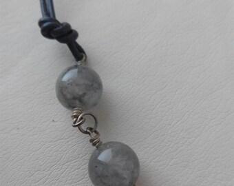 Quartz and leather necklace