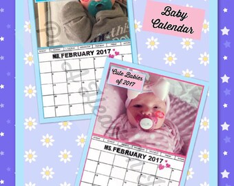 Fake Baby Calendar Page / Boy and Girl option / FREE kiss graphic & your choice of month / Fun Gag Gift / Add Your Face / Put A Head On It