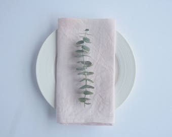 Linen Napkin Natural Dye Pale Pink Lunch Napkin Set of Two