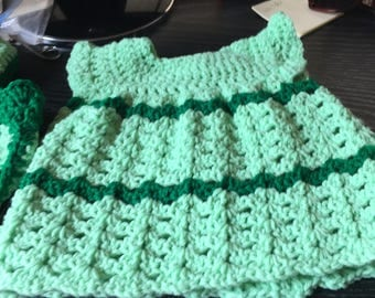 Dress, booties and diaper cover