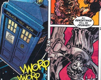 Doctor Who Cybermen, Davros, Darlek Comic Strip Characters from the TV Series on Cotton Fabric - FQ