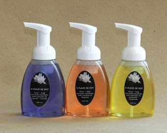 A: liquid soap-one organic handcrafted with essential oils foaming pump made in Quebec 8 oz - 250 ml