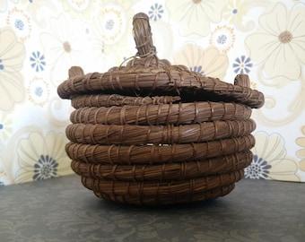 Handwoven Four-Inch Lidded Pine Needle Basket