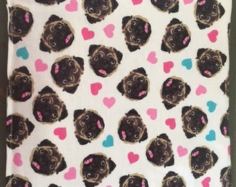 Handmade pet crate pad (for Small dog or cat) Pug design